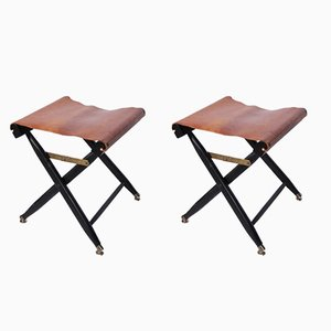 French Leather Folding Stools, 1940s, Set of 2