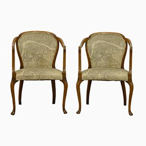 Art Deco Upholstered Walnut Armchairs, 1930s, Set of 2