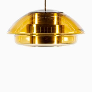Glass and Brass Pendant from Doria Leuchten, 1960s
