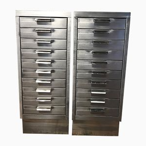 Vintage Stripped Metal Filing Cabinet, 1970s, Set of 2