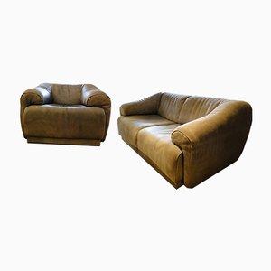 Leather Sofa & Armchair, 1970s
