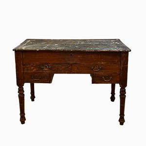 19th-Century Pitch Pine & Painted Clerks Table