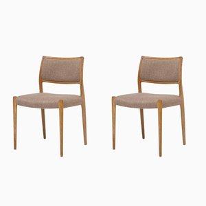 Modell 80 Stühle von J.L. Møllers, 1960er, 2er Set