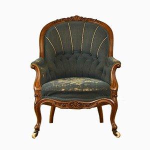 Antiker viktorianischer Sessel mit Gestell aus Nussholz und Bezug mit Stickerein, 1860er