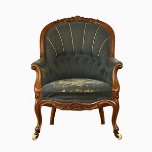 Antique Victorian Walnut Needlework Upholstered Armchair, 1860s