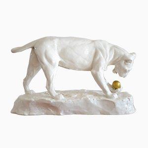Art Deco Skulptur eines Panthers von Etha Richter für Schwarzburger Werkstätten, 1914