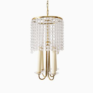 Brass Chandelier with Glass Beads, 1940s