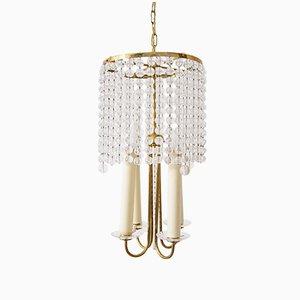Lampadario in ottone con perle in vetro, anni '40