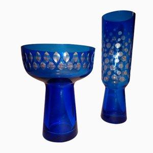 Vases par Karin Grigat pour Harzkristall Derenburg, 1970s, Set de 2