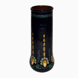 Antike Slipware Vase von Alfred Kusche für Karlsruher Majolika