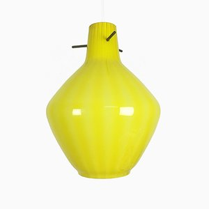 Lampe à Suspension en Verre de Murano Jaune, Italie, 1960s