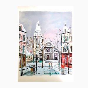 Pochoir Inspired Village of Montmartre di Maurice Utrillo, 1950