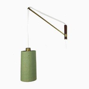 Lámpara de pared danesa de latón y teca, años 60