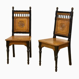 Arts & Crafts Oak Side Chairs from James Shoolbred & Co., 1870s, Set of 2