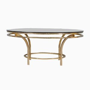 Italian Brass & Smoked Glass Coffee Table, 1970s