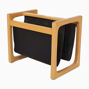 Danish Light Oak and Black Leather Magazine Rack, 1980s