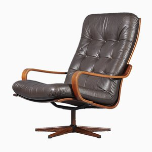 Vintage Swedish Leather Swivel Armchair, 1960s