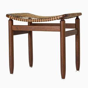 Mahogany and Rattan Stool from Bodafors, 1950s