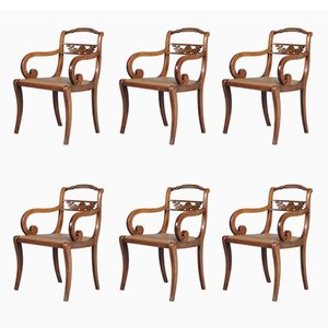 Vintage English Regency Mahogany Dining Chairs, Set of 6