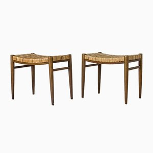 Swedish Rattan Stools, 1950s, Set of 2