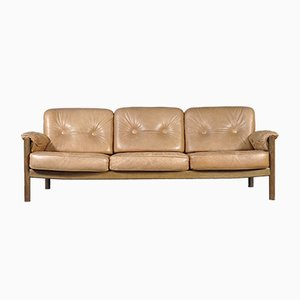 Vintage Cognac Leather Three-Seater Sofa, 1960s