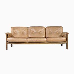 Vintage Cognac Leather Three-Seater Sofa, 1960s