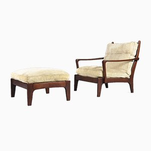 Scandinavian Lounge Chair & Ottoman, 1970s
