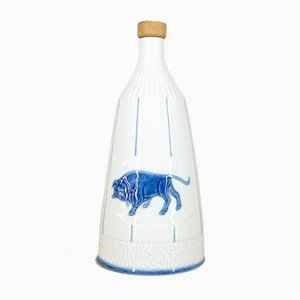Deutsche Porzellanflasche mit Bisonmotiv von Weiss, Kühnert & Co, 1960er