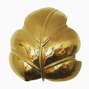 Italian Brass Leaf Shaped Wall Light, 1960s