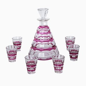 Jarra de licor Muscadet Mid-Century con 6 copas de Charles Graffart para Val Saint Lambert