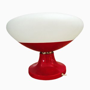 Lampada da tavolo Space Age in vetro opalino e metallo