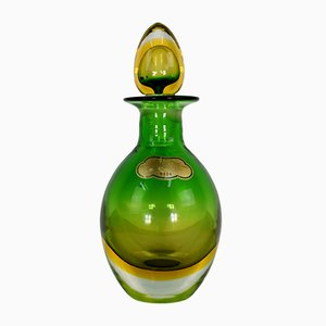 Botella de cristal de Murano con tapón de Arquimede Seguso, años 50