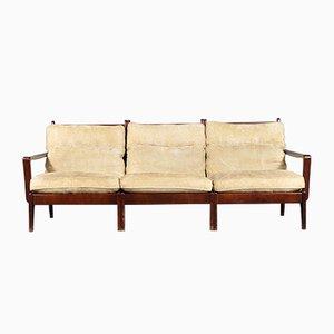 Sofá de tres plazas escandinavo de caoba, años 70