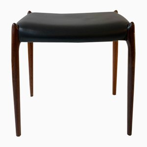 78A Solid Rosewood & Black Leather Stool by Niels O. Møller for J.L. Møllers, 1960s
