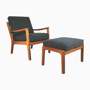 Mid-Century Teak Lounge Chair & Ottoman by Ole Wanscher for Peter Jeppesen, 1960s