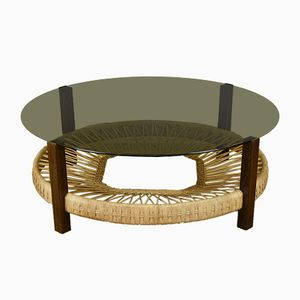 Vintage Wenge, Rattan & Smoked Glass Coffee Table, 1970s