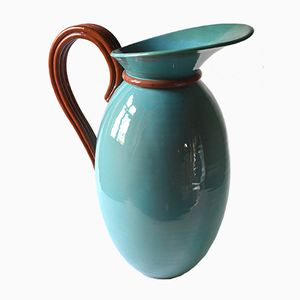 Large French Turquoise Ceramic Jug, 1950s