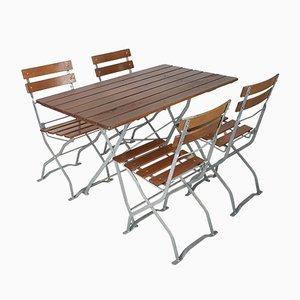Mesa jardín plegable y cuatro sillas vintage alemanas, años 70