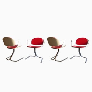 Lacquered Wood, Skai & Chrome Chairs, 1970s, Set of 4