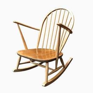 Mid-Century Elm and Beech Windsor Rocking Chair by Lucian Ercolani for Ercol