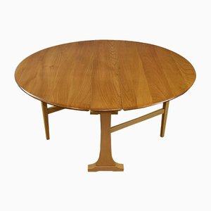 Großer klappbarer Vintage Esstisch aus Ulmenholz von Ercol, 1970er