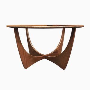 Tavolino da caffè Astro rotondo in vetro e teak di Victor Wilkins per G-Plan