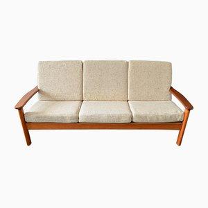 Dänisches 3-Sitzer Sofa aus Teak & Wolle von Glostrup, 1970er