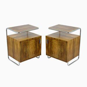 Tables de Chevet Bauhaus en Acier Tubulaire Chromé, 1930s, Set de 2