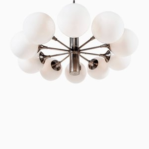 Italian Chrome & Milk Glass Chandelier by Gaetano Sciolari, 1960s