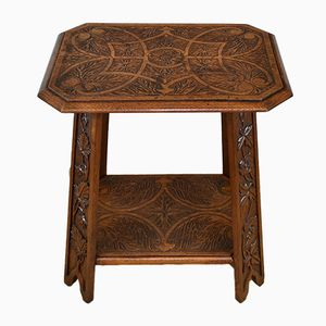 Arts & Crafts Carved Oak Occasional Table, 1910s