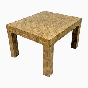 Tavolino da caffè in bambù intarsiato, Italia, anni '70
