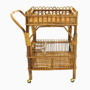 Rattan Bar Trolley, 1970s