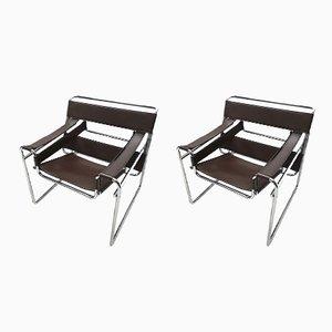 Braune Wassily B3 Stühle aus Leder von Marcel Breuer für Gavina, 1980er, 2er Set