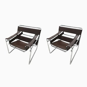 Brown Leather Wassily B3 Chairs by Marcel Breuer for Gavina, 1980s, Set of 2